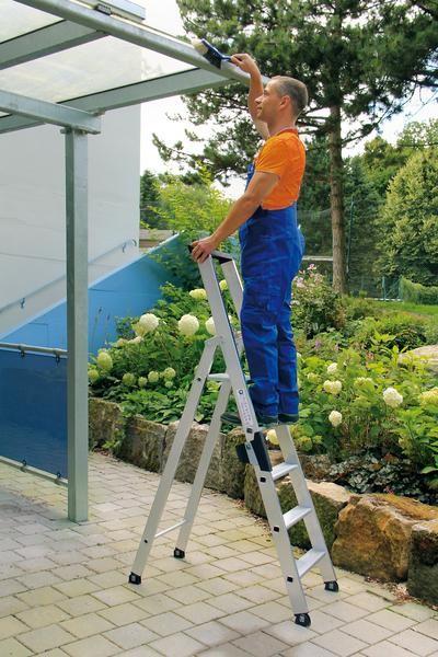 Aluminium-Stufen-Stehleiter einseitig begehbar