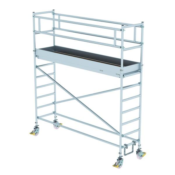 Aluminium-Rollgerüst (0,75 x 3,00 m) mit Plattformen im 2,0 m-Abstand, mit Fahrbalken*