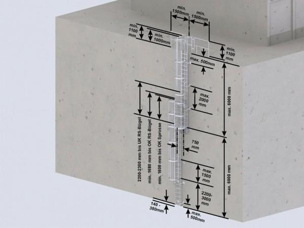Mehrzügige Steigleiter mit Rückenschutz, Stahl verzinkt