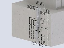 Mehrzügige Steigleiter mit Rückenschutz, Aluminium blank
