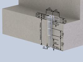 Einzügige Steigleiter mit Rückenschutz, Stahl verzinkt
