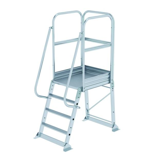 Aluminium-Podesttreppe einseitig begehbar, stationär