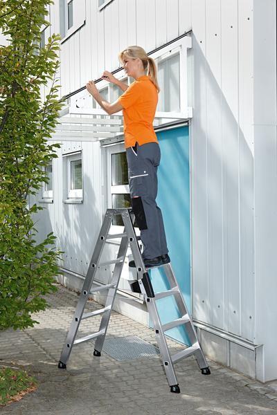 Aluminium-Stufen-Stehleiter beidseitig begehbar