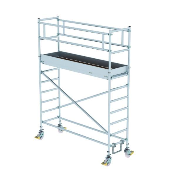 Aluminium-Rollgerüst (0,75 x 2,45 m) mit Plattformen im 2,0 m-Abstand, mit Fahrbalken*