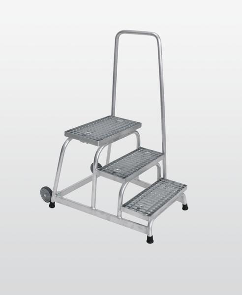 Aluminium-Arbeitspodest fahrbar mit Stahl-Gitterrost, mit Handlauf