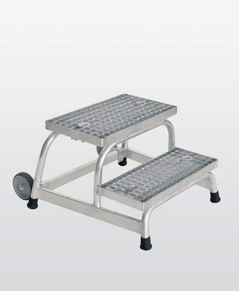 Aluminium-Arbeitspodest fahrbar, mit Stahl-Gitterrost