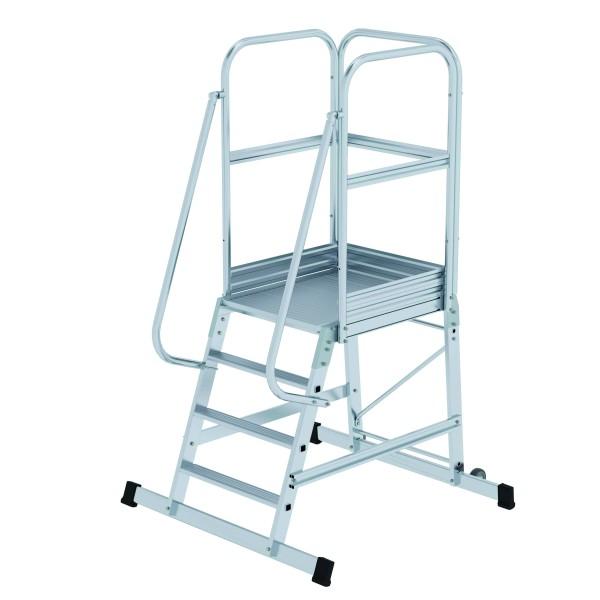 Aluminium-Podesttreppe einseitig begehbar, fahrbar